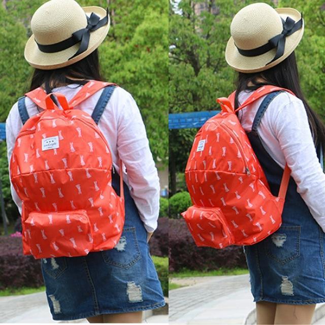 【E.City】加厚款可愛動物圖案防水折疊背包