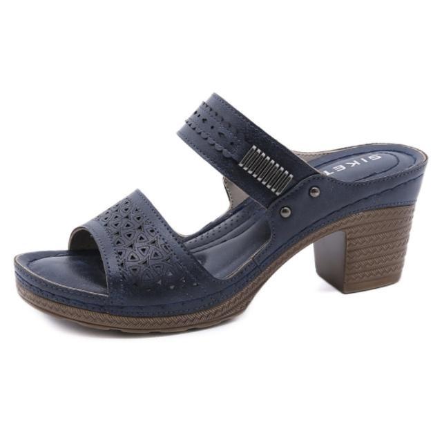 【Taroko】清爽造型透氣鏤空坡跟涼鞋(3色可選)