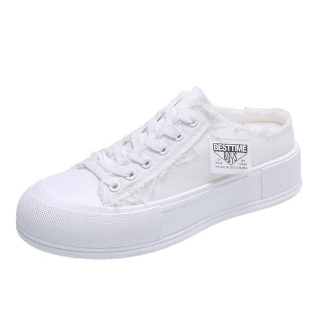 【Taroko】文青步調帆布厚底休閒穆勒鞋(2款4色可選)