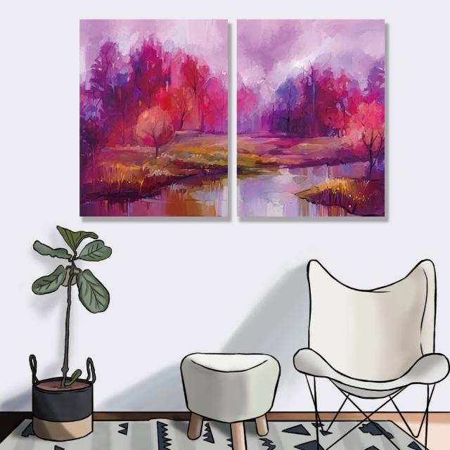【24mama 掛畫】二聯式 油畫布 森林 藝術手繪印象派 色彩繽紛 湖 景觀 戶外 無框畫-30x40cm(秋天樹木)