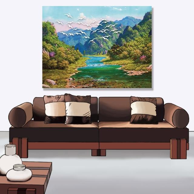 【24mama 掛畫】單聯式 油畫布 景觀 河流 動物 夏天 自然 樹 無框畫-80x60cm(山脈森林)