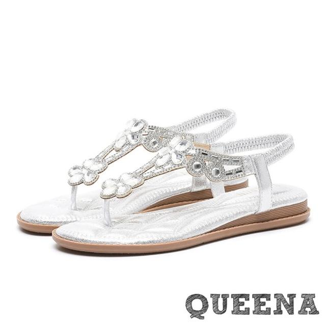 【QUEENA】華麗璀璨花朵晶鑽縷空T字羅馬厚底夾腳涼鞋(銀)