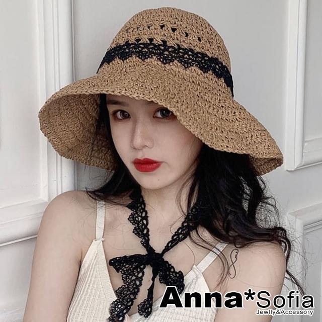 【AnnaSofia】遮陽防曬淑女帽草帽漁夫帽-穿綁黑蕾絲帶花式編(駝系)