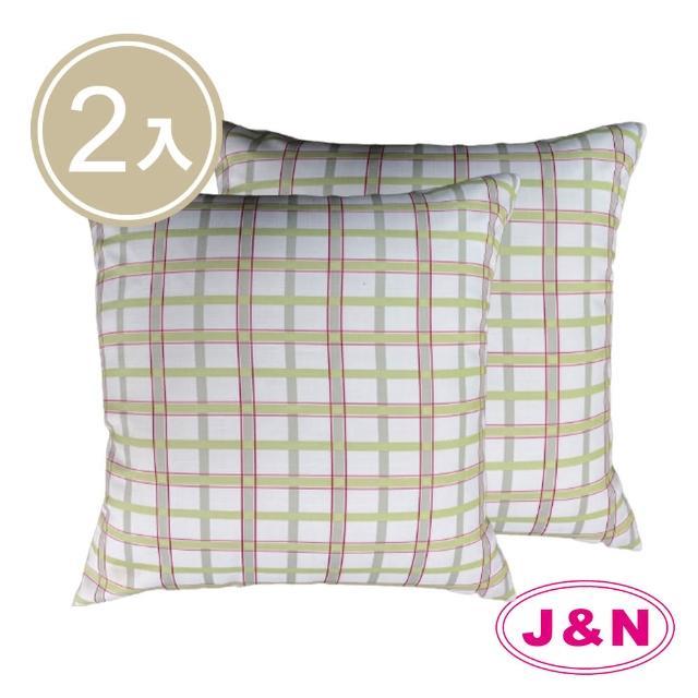 【J&N】多倫多格子抱枕60*60-綠色(2入/1組)