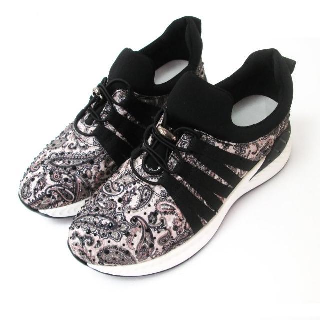 【Branda】韓版輕量變形蟲珠鑽休閒運動款(輕量優質版久穿不變形百搭休閒鞋黑色)