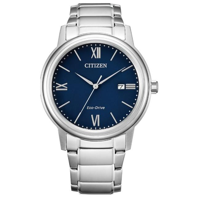 【CITIZEN 星辰】PAIR 對錶羅馬數字鋼帶錶-男藍面41.5mm(AW1670-82L)