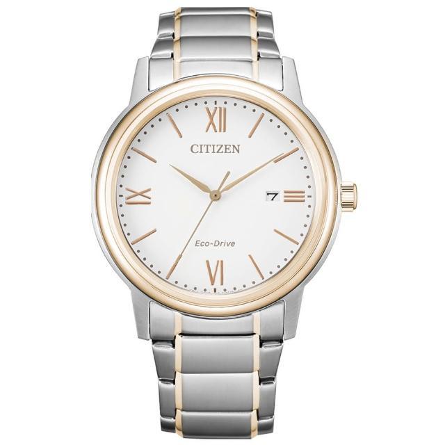 【CITIZEN 星辰】PAIR對錶光動能羅馬數字鋼帶錶-男白面 41.5mm(AW1676-86A)