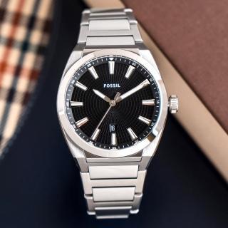 【FOSSIL】公司貨 Everett 極簡商務不鏽鋼腕錶/銀x黑面 男錶(FS5821)