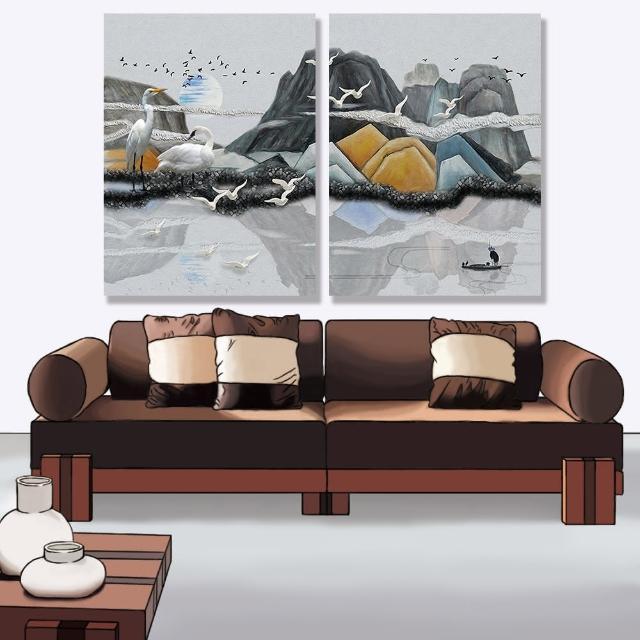 【24mama 掛畫】二聯式 油畫布 景觀 抽象 插圖 滿月 雲 動物 船 倒影 湖 無框畫-30x40cm(抽象丘陵)