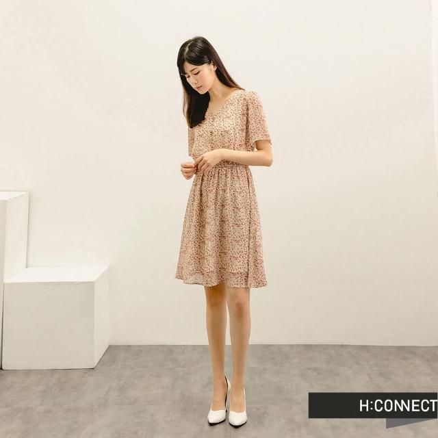 【H:CONNECT】韓國品牌 女裝 -滿版碎花排扣短洋裝(杏色)