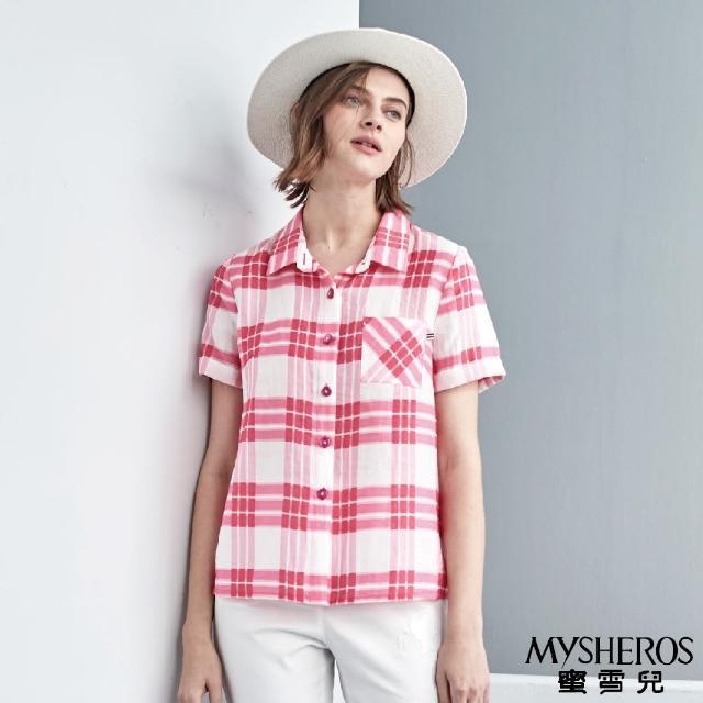 【MYSHEROS 蜜雪兒】粉釦格紋小口袋襯衫上衣(粉)