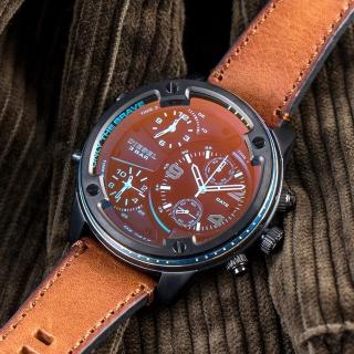 【DIESEL】公司貨 Boltdown 曠野男神炫彩多時區皮革腕錶/淺棕x黑框(DZ7417)