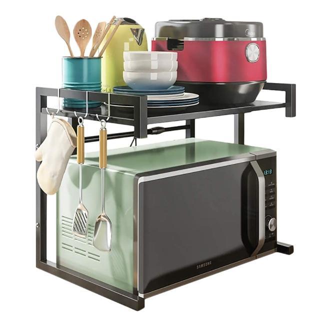 可伸縮微波爐架 烤箱架 廚房置物架 收納架 送掛勾(可伸縮43-65公分置物架)