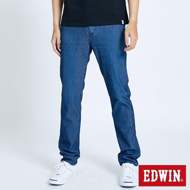 【EDWIN】JERSEYS 迦績EJ6加大碼透氣中腰錐形長褲-男款(酵洗藍)