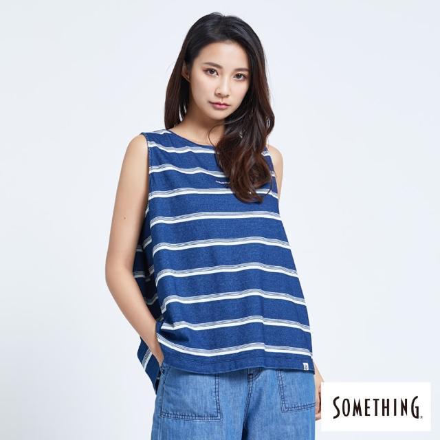 【SOMETHING】INDIGO條紋背心-女款(丈青色)