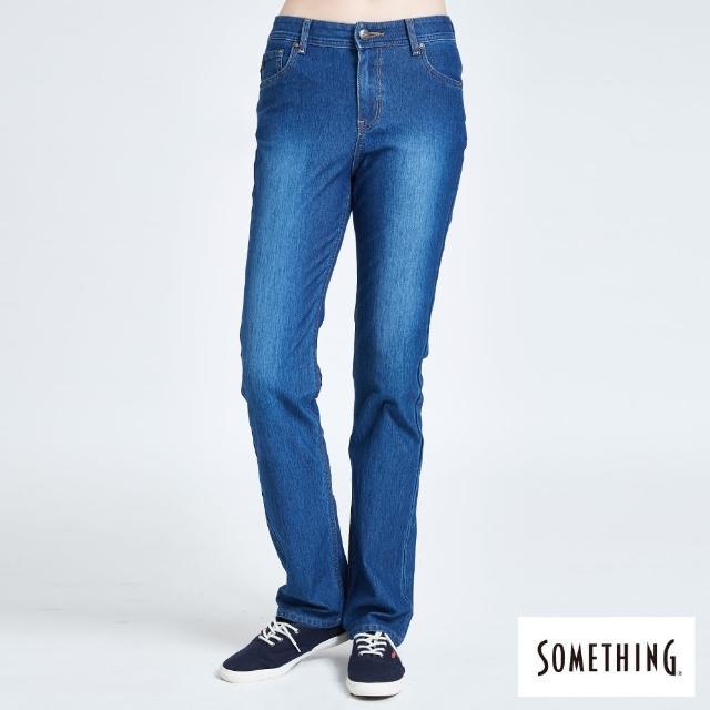 【SOMETHING】蘇菲亞針織中直筒牛仔褲-女款(拔洗藍)