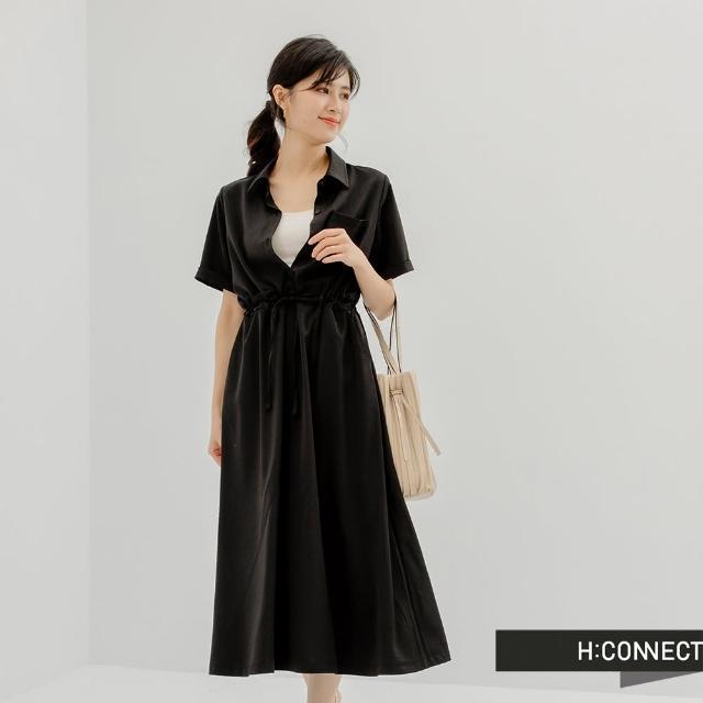 【H:CONNECT】韓國品牌 女裝 - 簡約純色口袋排釦襯衫洋裝(黑色)