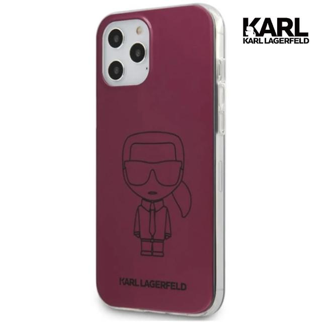 【KARL LAGERFELD 卡爾】框線IKONIK IPHONE 12/12 PRO手機殼-酒紅(原廠公司貨)