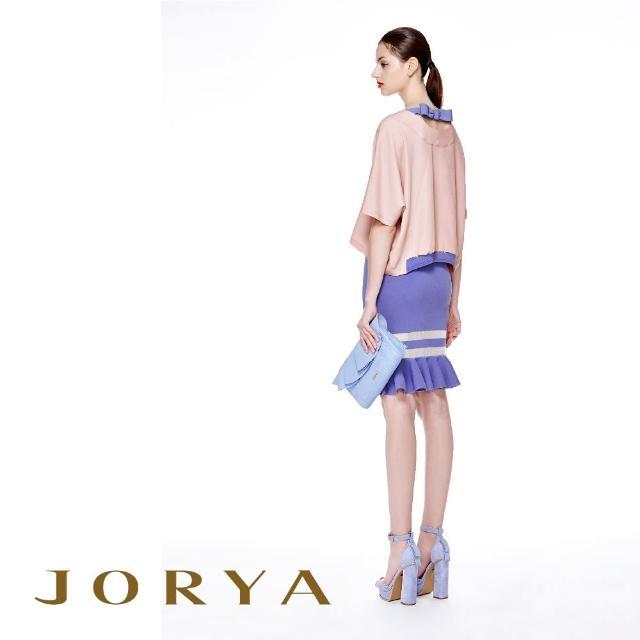 【JORYA】H1203602蝴蝶結背部微簍空寬鬆五分袖上衣
