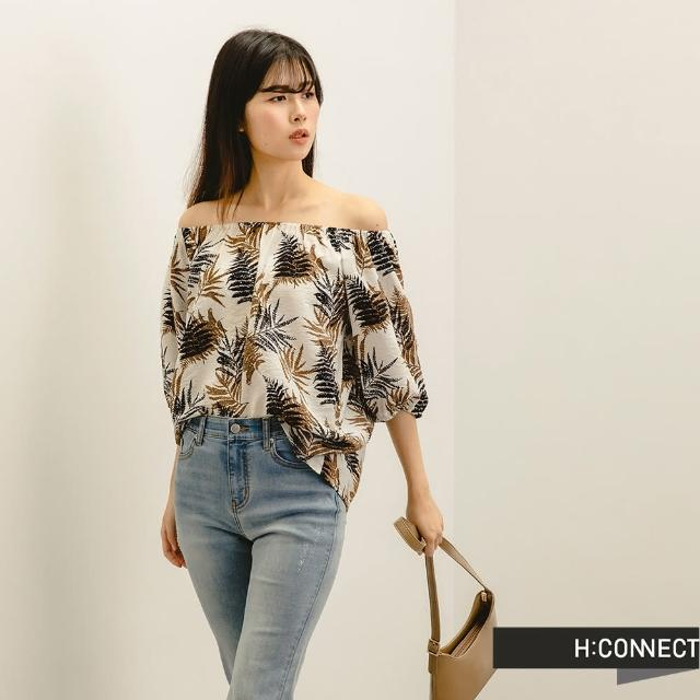 【H:CONNECT】韓國品牌 女裝 -一字領葉子圖案平口襯衫(葉子)