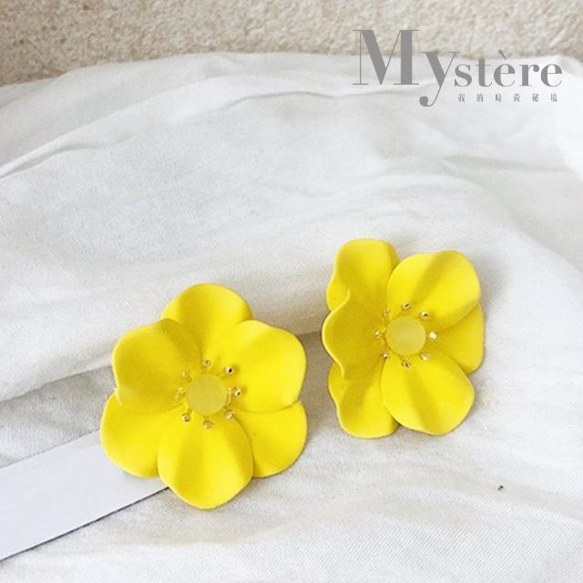 【my stere 我的時尚秘境】限定款~日式花朵水晶造型耳環(2021必備黃色 甜美 個性 花朵)