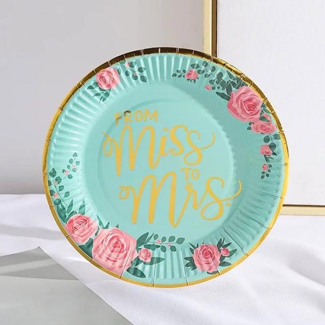 彩色印花單身派對蛋糕餐盤1組(紙盤 餐盤 蛋糕盤 單身派對 婚禮派對)