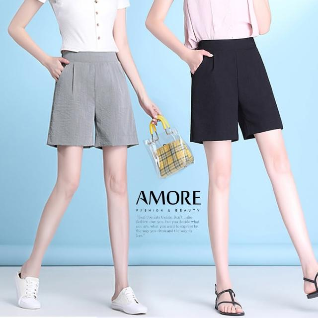 【Amore】日韓質感顯瘦冰絲棉麻短褲(涼爽超好穿)