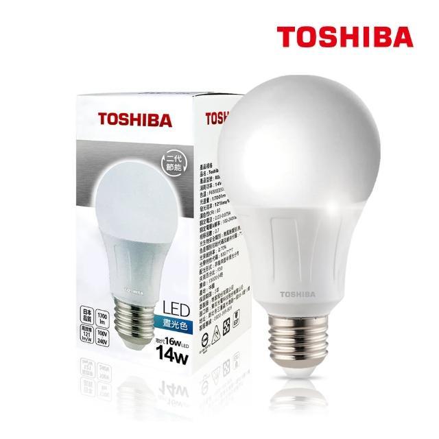 【TOSHIBA 東芝】14W 護眼 高顯色 LED燈泡-三色任選(晝光色/燈泡色/自然色-5入)