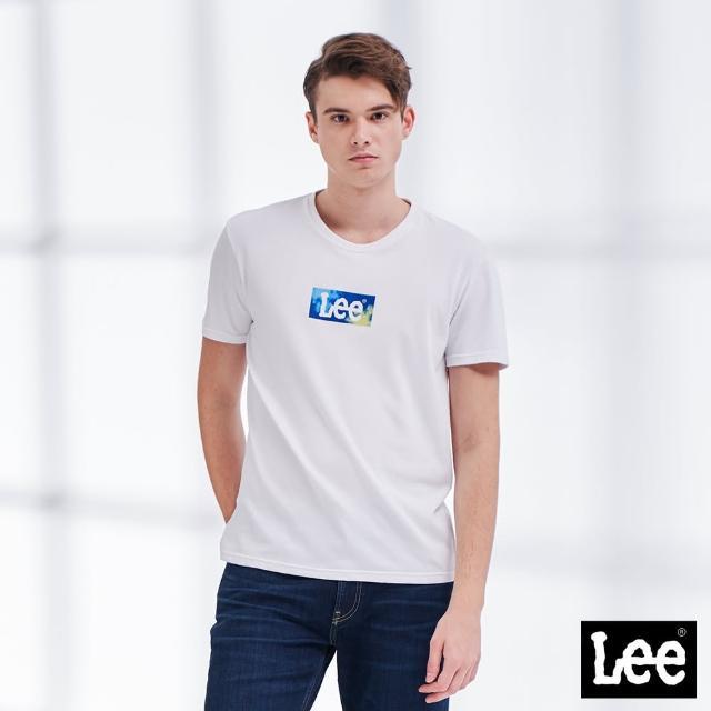 Lee【Lee】天空藍 小Logo 男短袖T恤-經典白