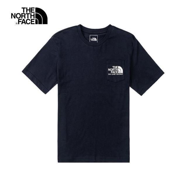 【The North Face】The North Face北面男款深藍色胸前口袋背部印花短袖T恤|4U9LRG1