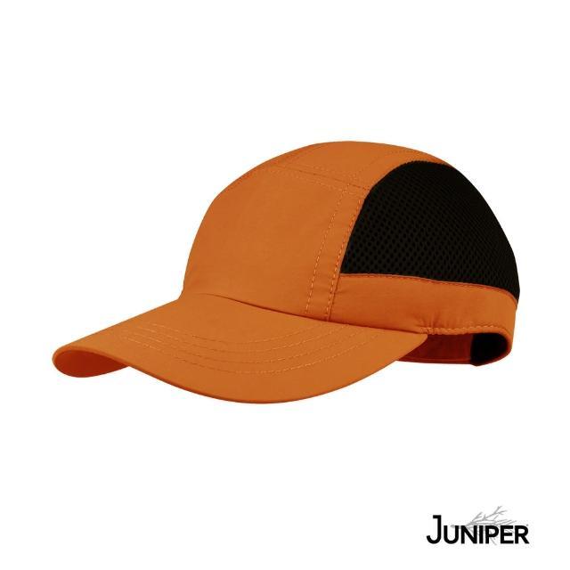 【Juniper 朱尼博】抗UV防曬防潑水透氣戶外休閒運動帽-橘/黑 MJ7208(帽子/鴨舌帽/棒球帽/遮陽帽)