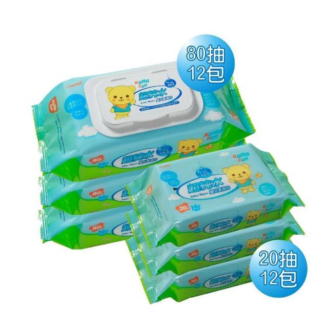 【Combi】超純水濕紙巾 80抽x12包+20抽x12包(24入/箱)