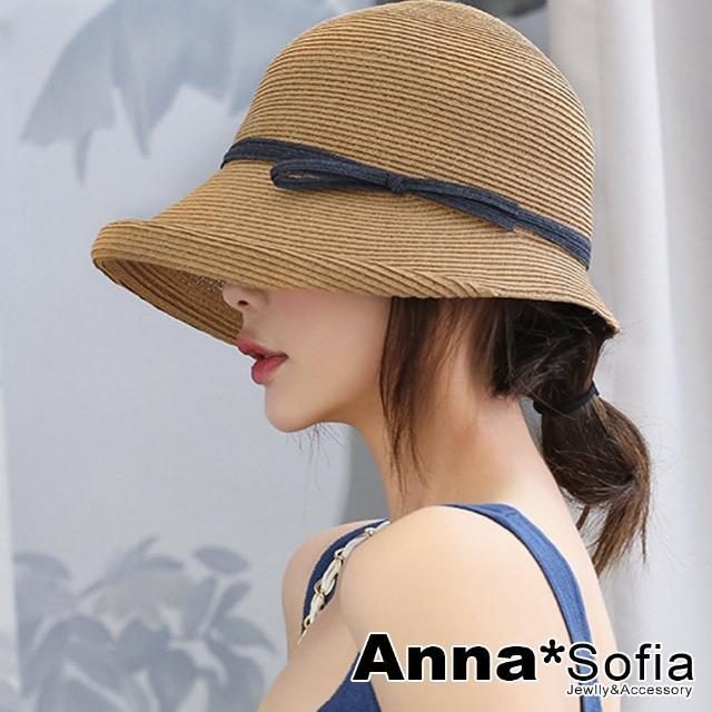 【AnnaSofia】遮陽防曬淑女帽草帽漁夫帽-黑雙線帶前摺簷(駝系)