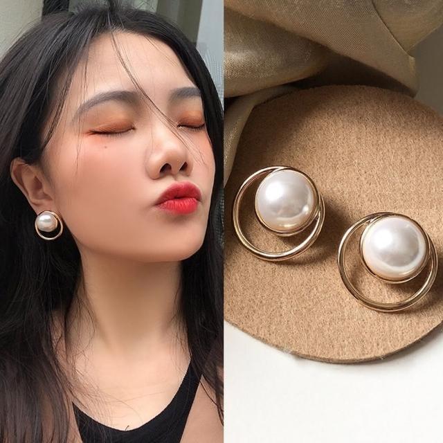 【Emi 艾迷】時尚進行式圈圈大珍珠925銀針耳環
