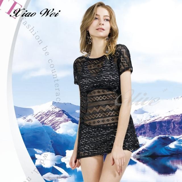 【梅林品牌】時尚流行泳裝/比基尼黑色長版罩衫(NO.M94918)
