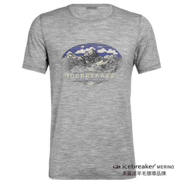 【Icebreaker】男 Tech Lite 圓領短袖上衣-AD150-高山波峰-灰(IB104941-016/快乾/排汗/登山健行)