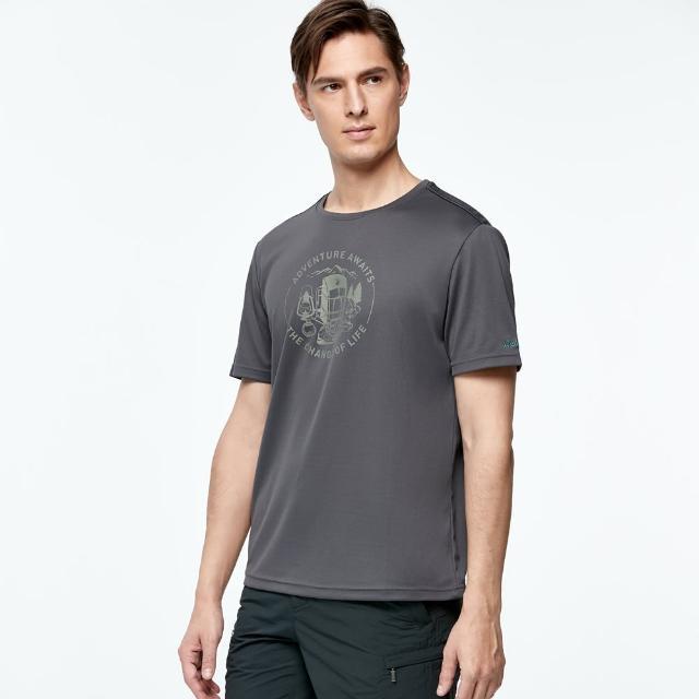 【Wildland 荒野】男椰炭紗抗菌抗UV圓領衣(深灰色)