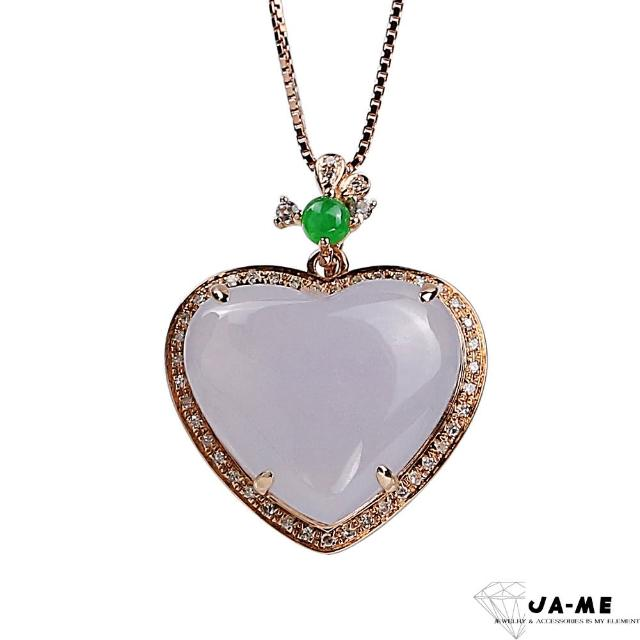 【JA-ME】天然A貨翡翠冰糯紫羅蘭心心相印18k金項鍊