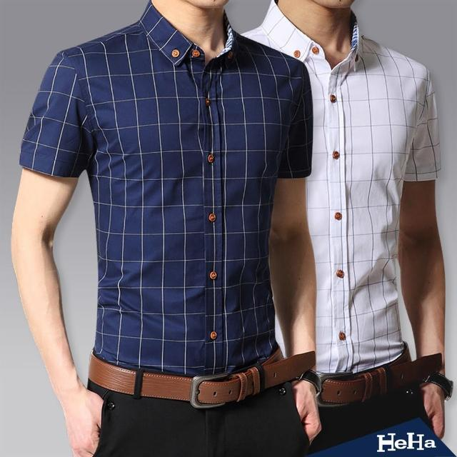 【Heha】襯衫 棉質格紋短袖襯衫(三色)
