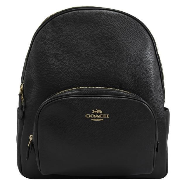【COACH】素雅荔枝皮革前口袋雙層後背包(黑 大款)