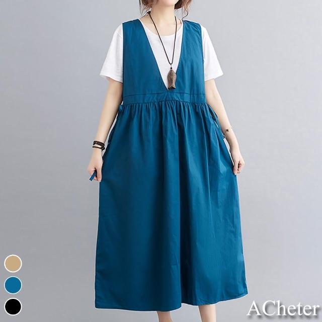 【ACheter】荷蘭鬱金香大碼棉麻純色寬鬆背心洋裝#109480現貨+預購(3色)