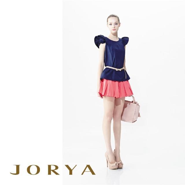 【JORYA】G1201601優雅素面質感不規則棉麻百褶短裙