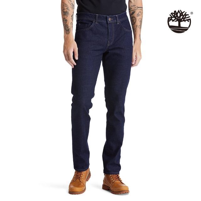 【Timberland】男款水磨藍色修身牛仔褲(A2C92H87)