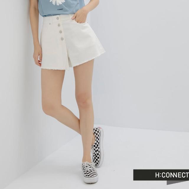 【H:CONNECT】韓國品牌 女裝 -高腰排釦抓鬚牛仔褲(白色)
