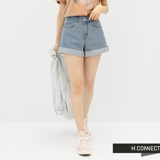 【H:CONNECT】韓國品牌 女裝 -A字剪裁高腰反褶牛仔短褲(藍色)