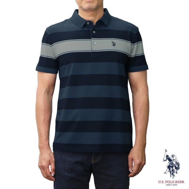 【U.S. POLO ASSN.】條紋短袖POLO衫-深藍色條紋(深藍色條紋)