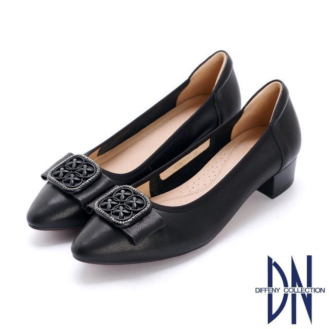 【DN】跟鞋_氣質方釦蝴蝶結真皮微尖低跟鞋(黑)
