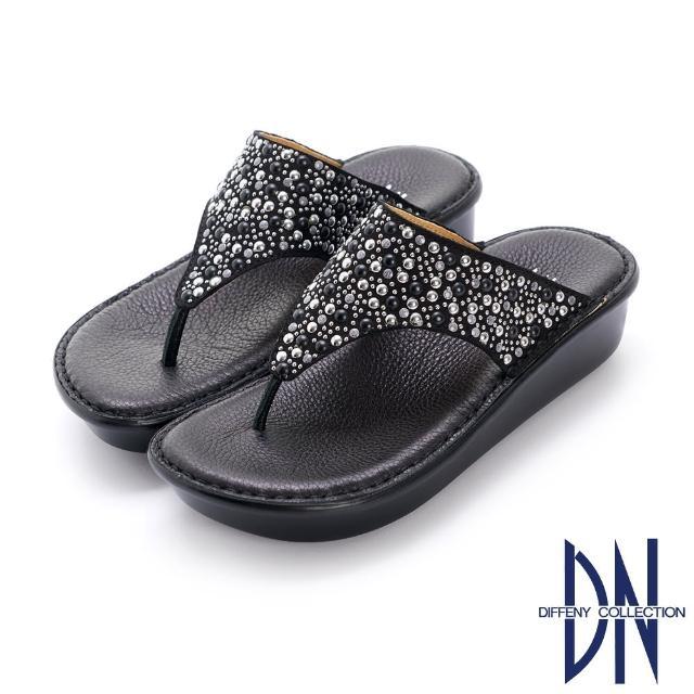 【DN】拖鞋_MIT鉚釘妝點真皮夾腳厚底涼拖鞋(黑)
