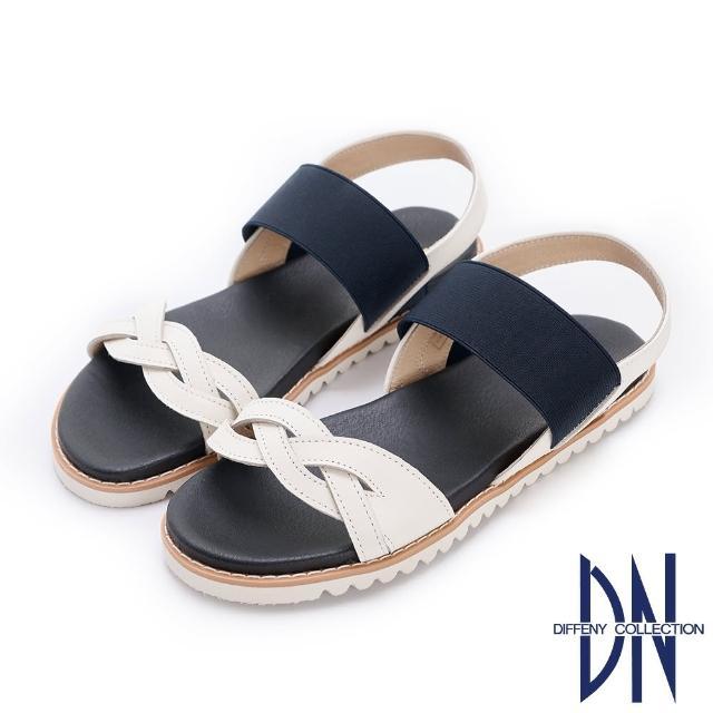 【DN】涼鞋_MIT真皮舒適編織平底一字涼鞋(白)