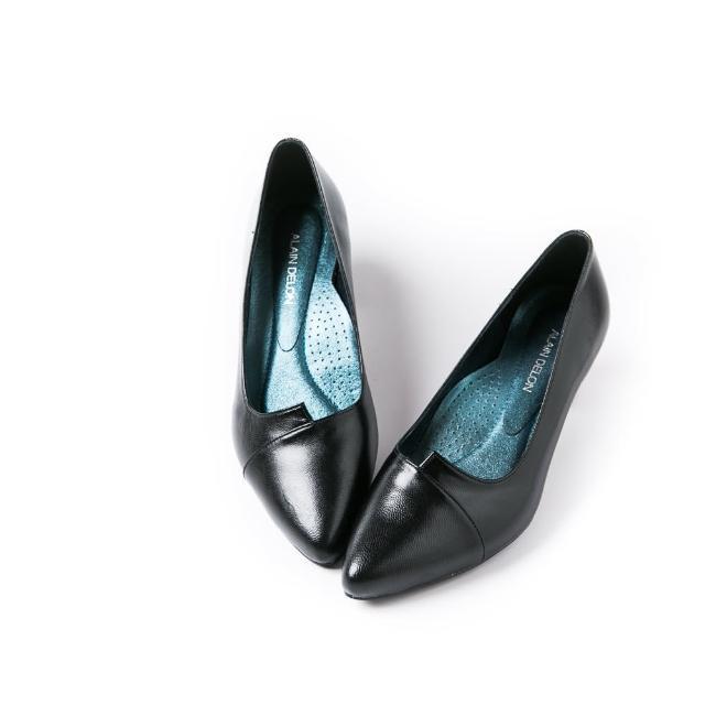 【ALAIN DELON 亞蘭德倫】優雅迷人小羊皮高跟鞋A90012(1色 黑色)